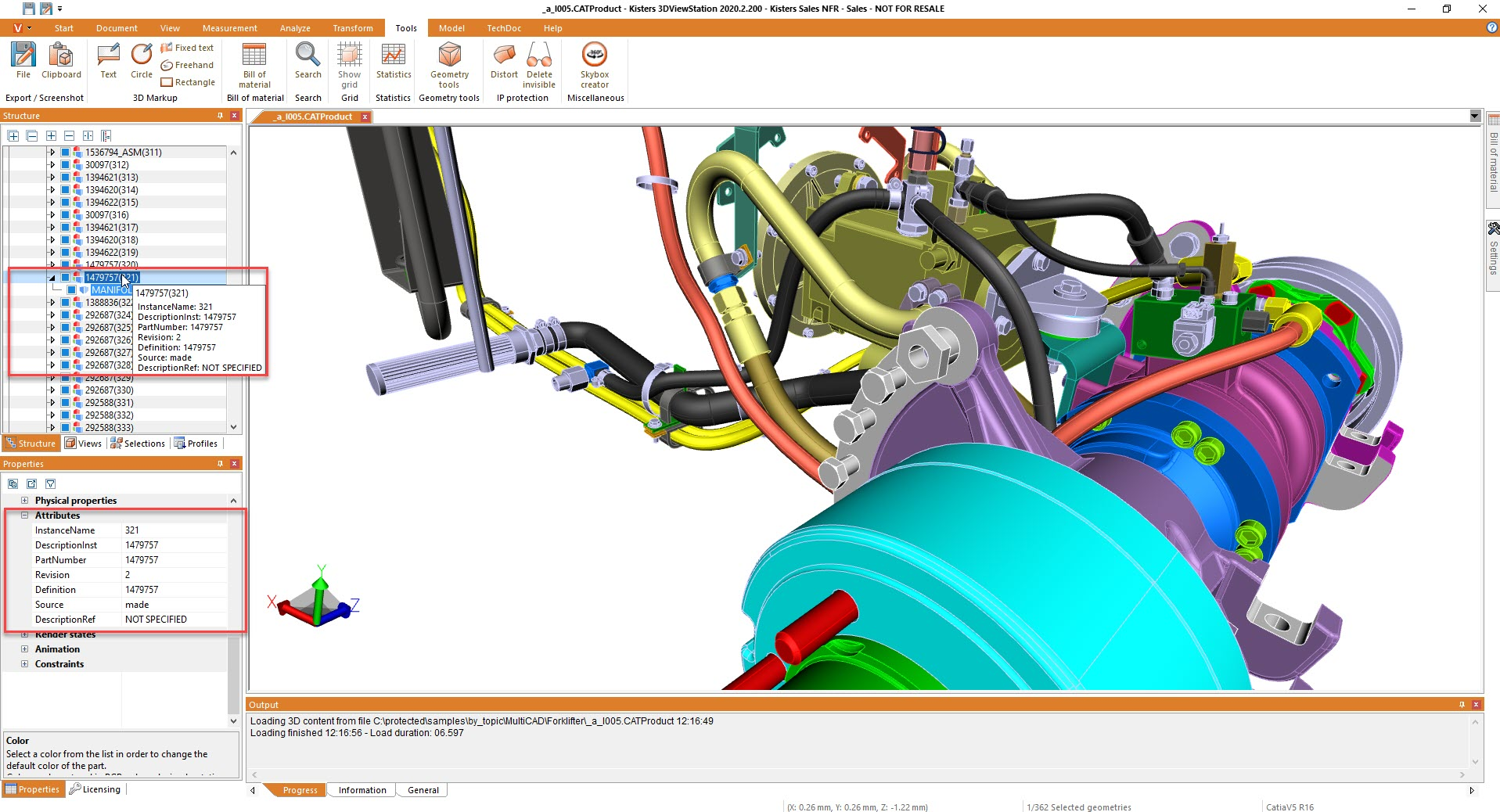 Attributes of geometry, read from native CAD file - using 3DViewStation