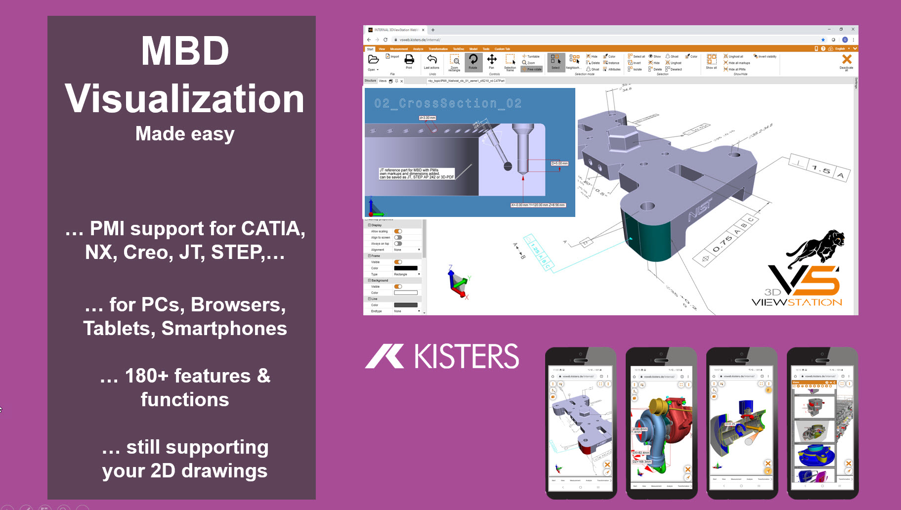 Kisters 3DViewStation supporting PMI for MBD