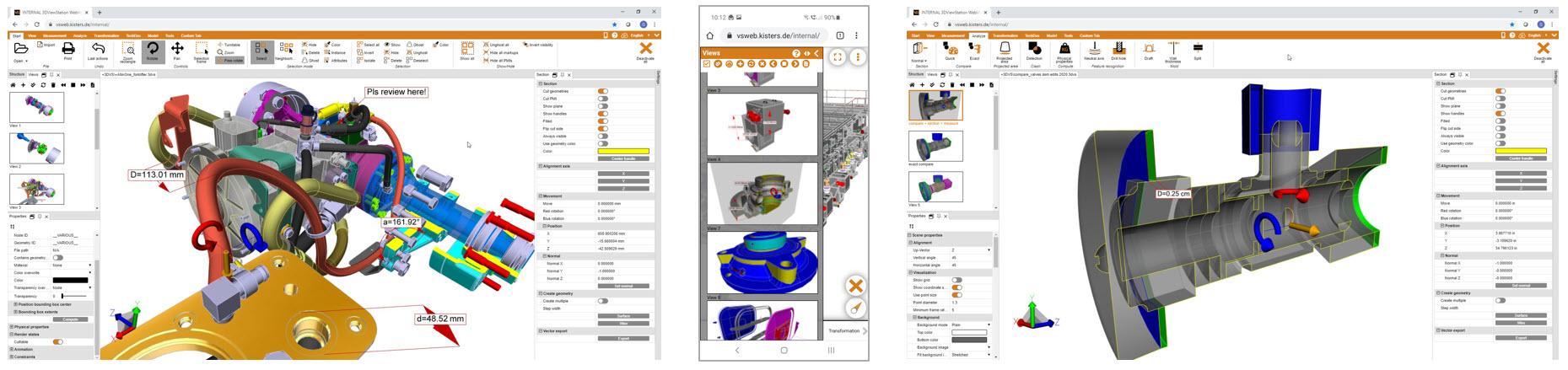 3DViewStation WebViewer version 2020.1 screen captures