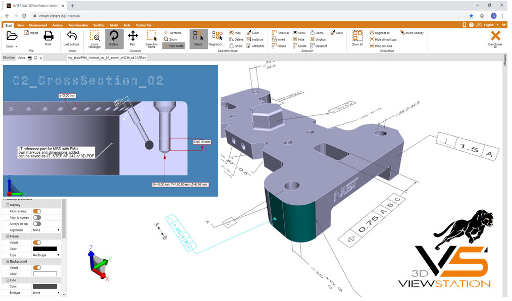 3D CAD Viewer for MBD / PMI